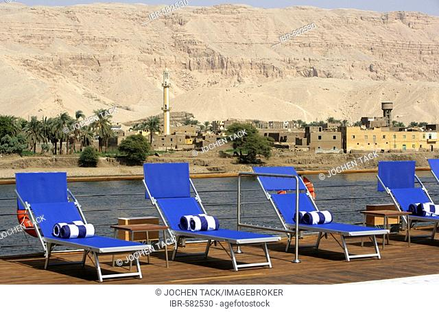 Deck chairs, Cruising the Nile on board the Zahra between Aswan and Luxor, Egypt, Africa