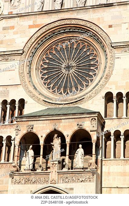 Piazza Duomo or cathedral square in Cremona Italy. Cathedral facade