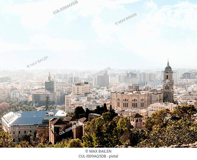 Elevated view of city, Malaga, Spain