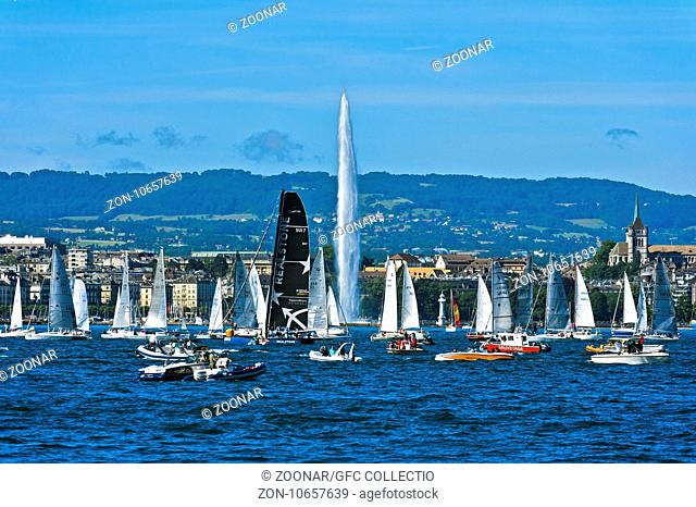 Sailing boats at the lakefront of Lake Geneva, Geneva, Switzerland