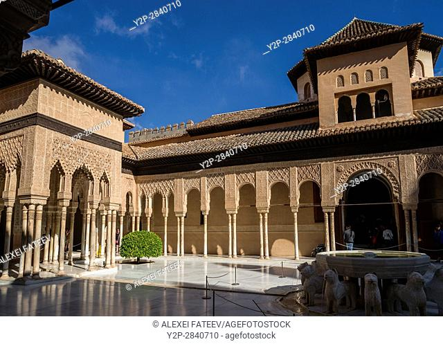 Court of the Lions in Alhambra, Granada, Spain