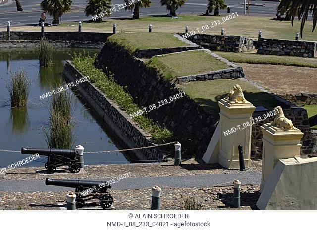 High angle view of cannons along a path, Castle of Good Hope, Lion Gate, Cape Town, Western Cape Province, South Africa