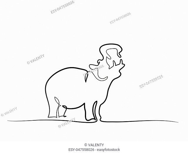 Continuous one line drawing. Hippo silhouette symbol. Logo of the Hippo. Vector illustration