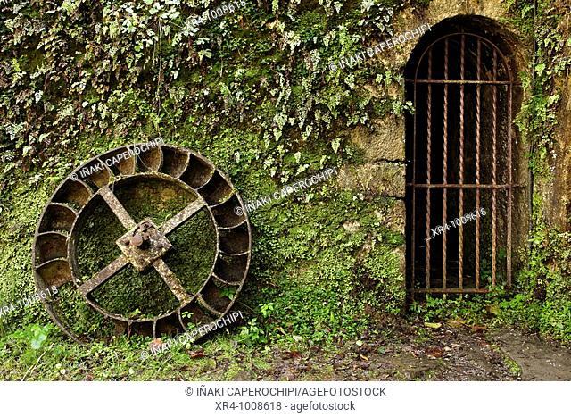 Wheel, Agorregi forge, Pagoeta Natural Park, Aya, Guipuzcoa, Basque Country, Spain
