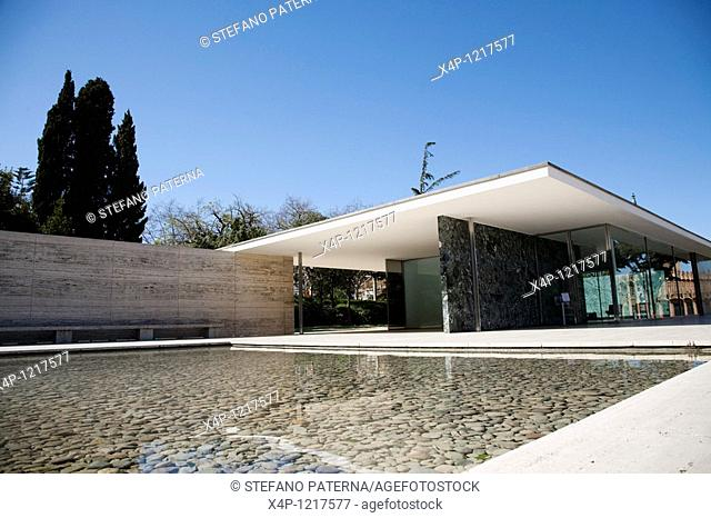 The german pavillon built for the world expo of 1929. Today it is a reconstruction after the original design of Ludwig Mies van der Rohe, Barcelona, Spain