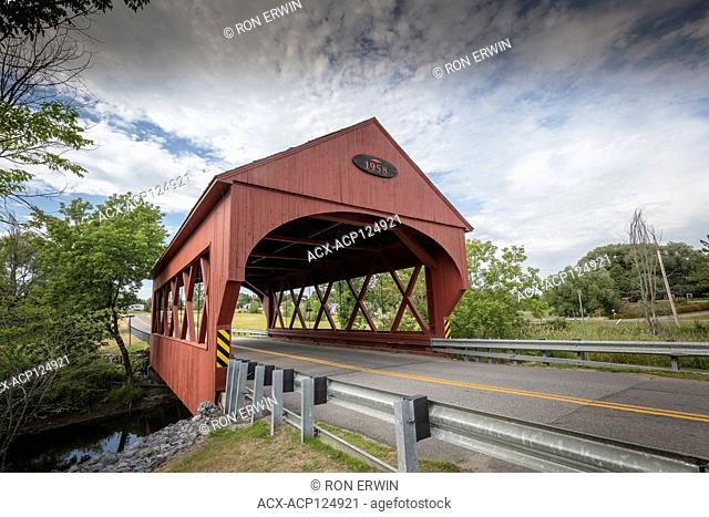 Masham covered bridge spanning La Pêche River at the Gatineau Park entrance in Canada's National Capital Region in Quebec
