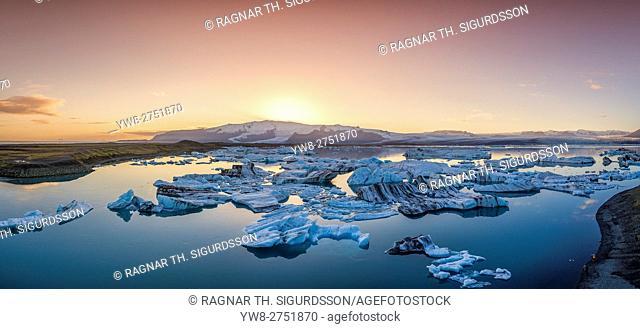 From above-Jokulsarlon Glacial Lagoon, Breidamerkurjokull Glacier, Vatnajokull Ice Cap, Iceland. Image is shot with a drone