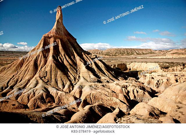 Castildetierra, symbol of this continental desert. Bardenas Reales Natural Park. Biosphere Reserve. Navarre. Spain