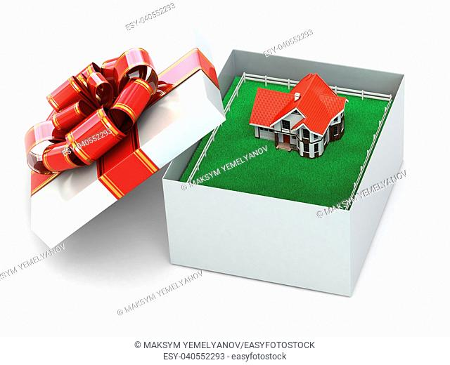 House in the gift box on white isolated background. 3d