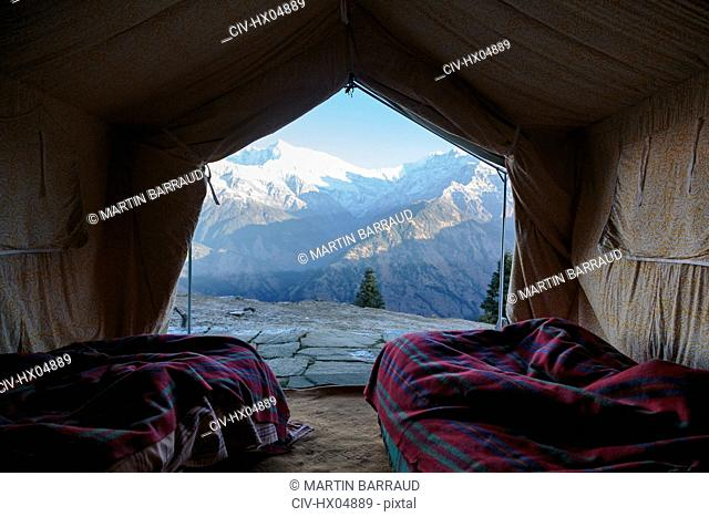 Yurt with scenic mountain view, Jaikuni, Indian Himalayan Foothills