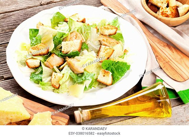 Caesar salad with parmesan and croutons Stock Photos and