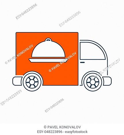 Icon Of Delivering Car. Thin Line With Red Fill Design. Vector Illustration