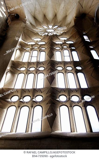 Detail of Sagrada Familia temple by Gaudi, Barcelona. Catalonia, Spain