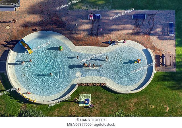 Outdoor pool Sternbusch Kleve, children's wading pool, children's pool, Kleve, Lower Rhine, North Rhine-Westphalia, Germany, Europe