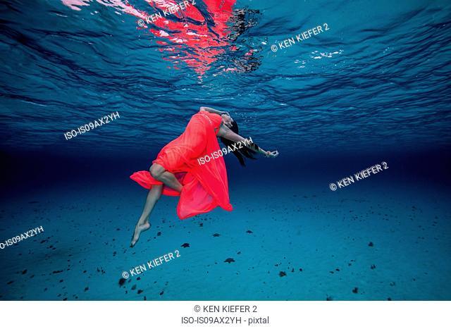 Woman underwater in red dress