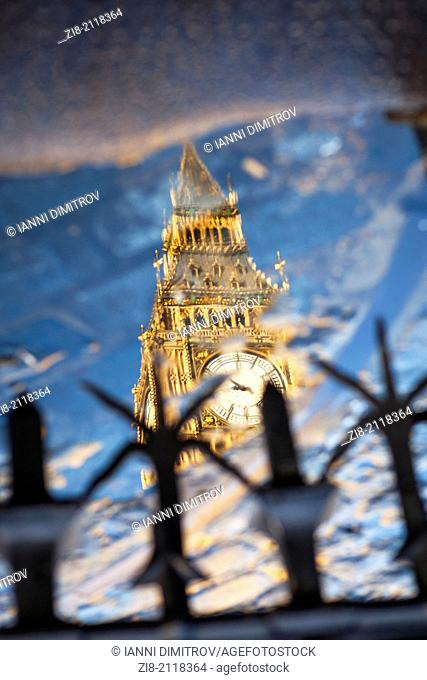 Big Ben reflection,The Houses of Parliament,London,England