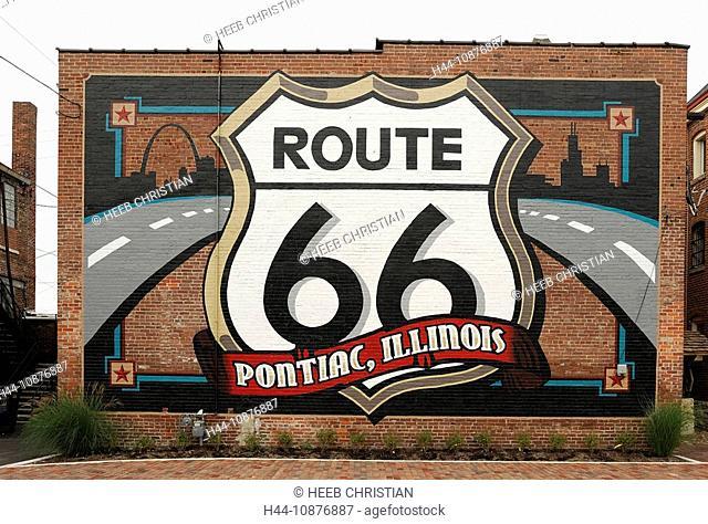 Route 66 Mural, Route 66 nostalgia, Pontiac, Illinois, USA