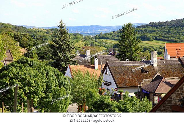 Hungary, Tihany, village, landscape, scenery, aerial view,