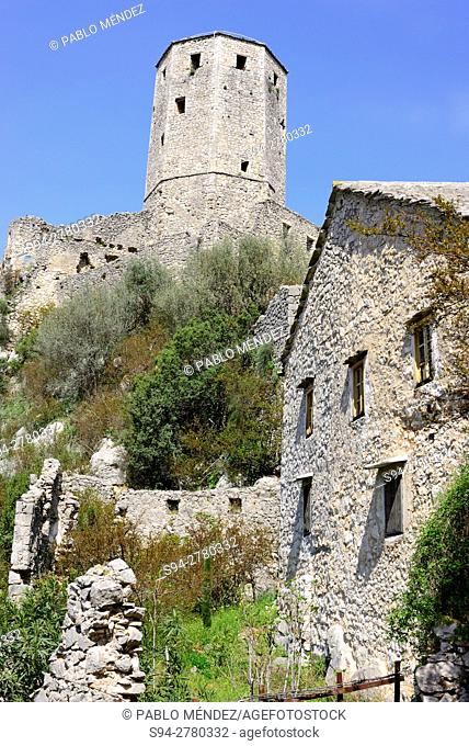 View of the castle of Pocitelj, Capljina, Bosnia and Herzegovina