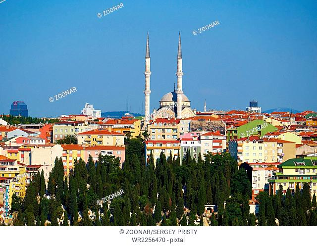 The view of Bademlik mosque on the top of hill in Sutluce neighborhood of Istanbul