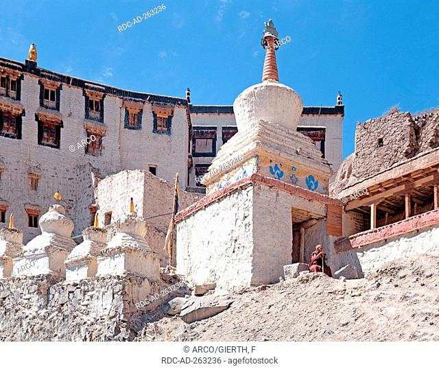 Chorten at monastery Spituk near Leh Ladakh India