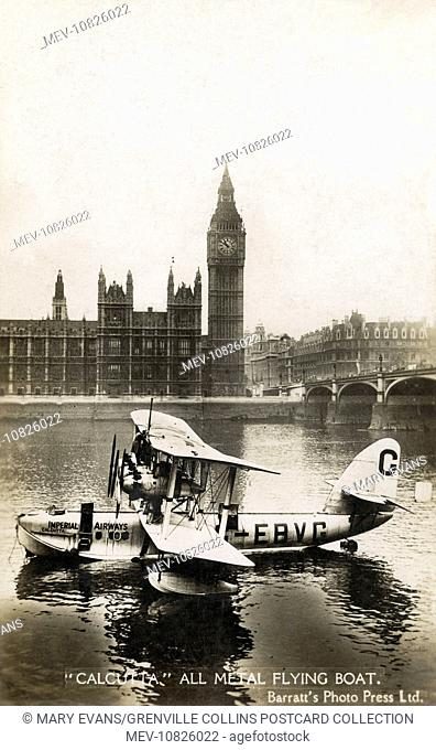 Imperial Airway Flying Boat - 'Calcutta' - all-metal flying boat the River Thamas by Westminster Bridge in front of the Houses of Parliament and Big Ben on 1st...
