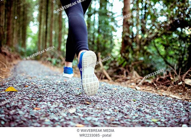Close up of woman legs running