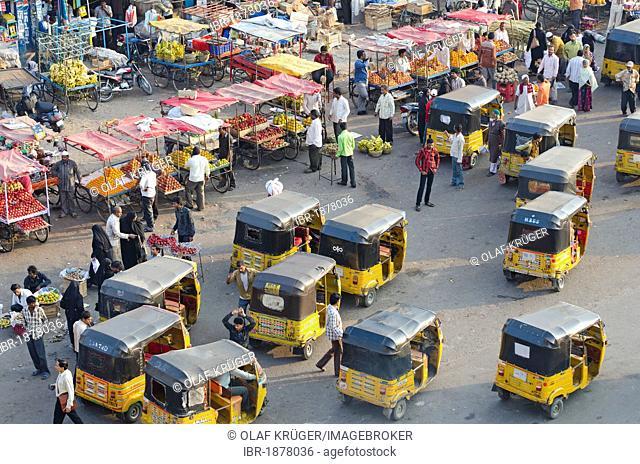 Motor rickshaws, Charminar, Hyderabad, Andhra Pradesh, India, Asia