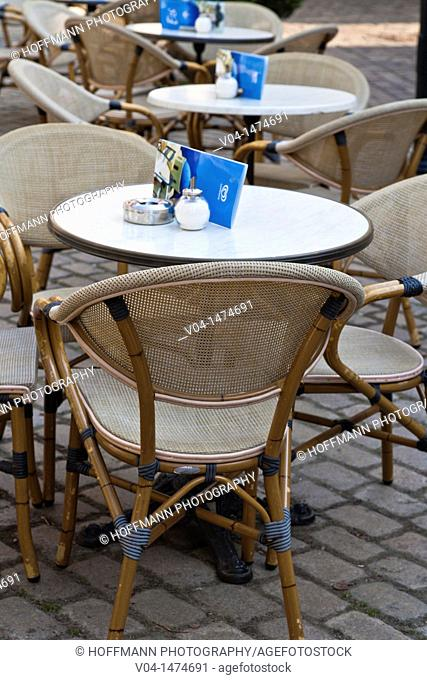 Deserted tables outside a restaurant in the rain, Bremen, Germany, Europe