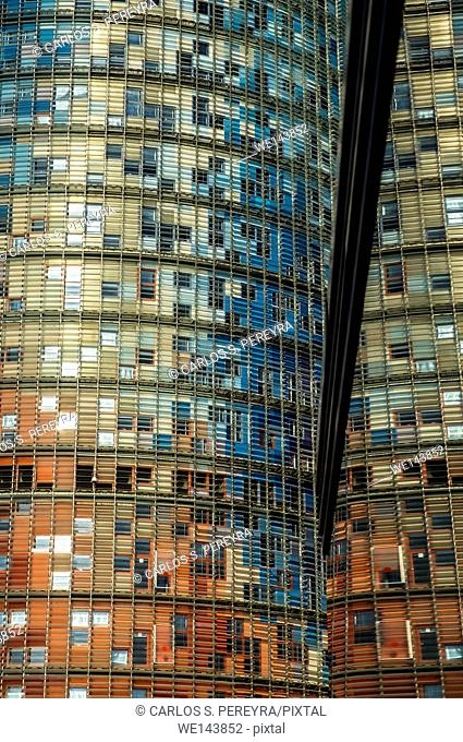 Agbar Tower, designed by architect Jean Nouvel. The building is located in the renovated area of Poble Nou, known as 22 @. Barcelona, Catalonia, Spain