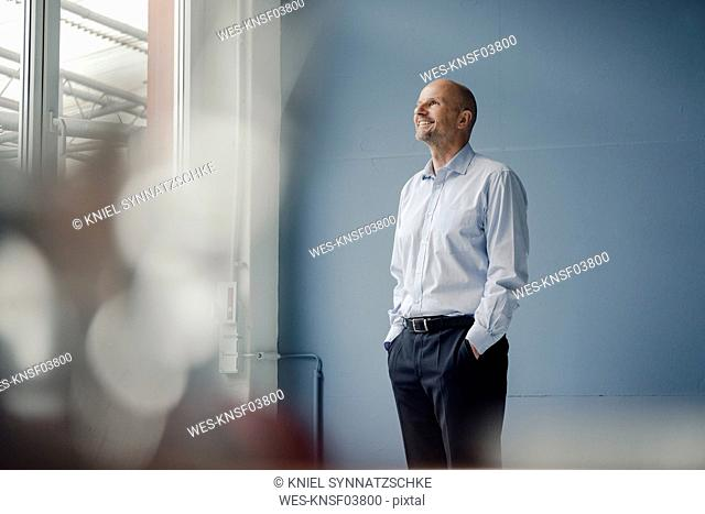 Smiling mature businessman looking out of window