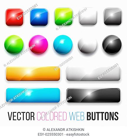 Set of colored glossy web buttons
