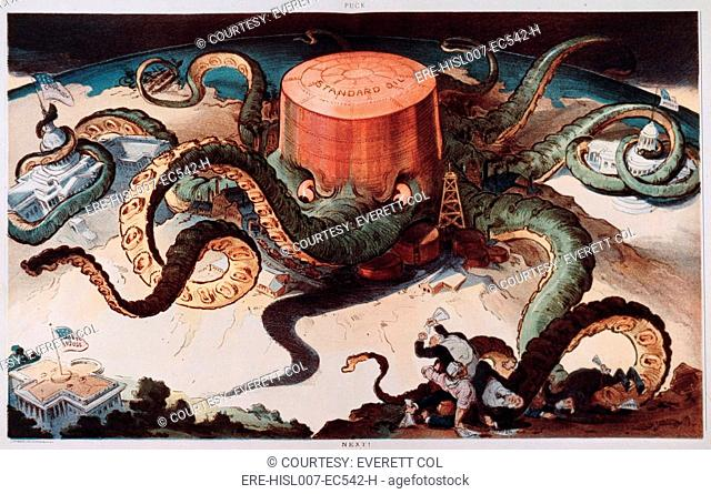 Political cartoon entitled 'Next,' showing a Standard Oil tank as an octopus with many tentacles wrapped around the steel, copper, and shipping industries