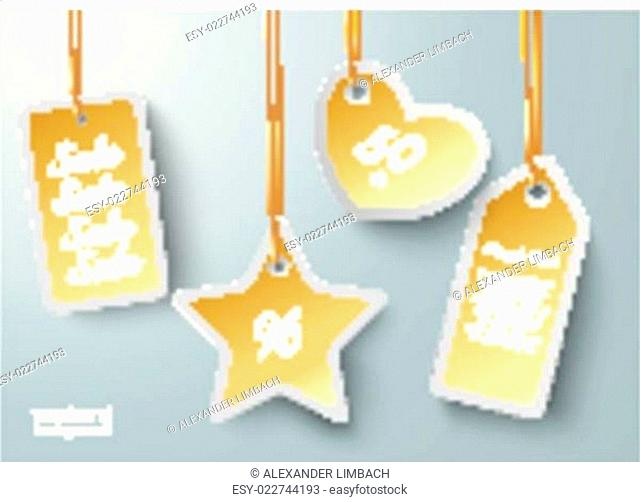 Golden Price Sticker Heart Star