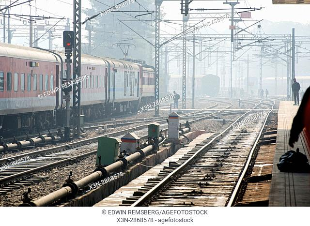 Indian Railway trains moving through a train station in New Delhi. India