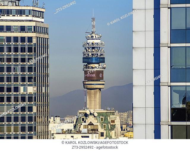 Entel Tower seen from the Santa Lucia Hill, Santiago, Chile