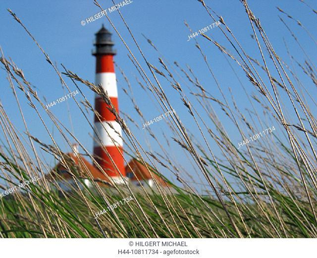 coast, Germany, Europe, grass, Hever, lighthouse white red, mud flats, North Frisia, North Sea, North Sea coast, ree