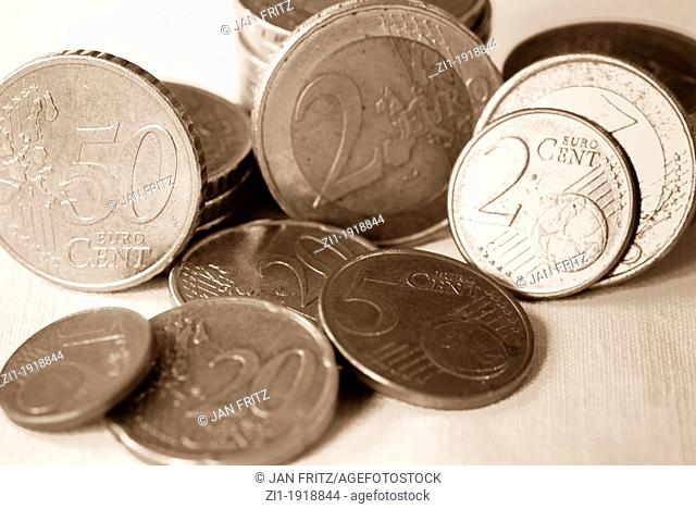 eurocoins in black and white