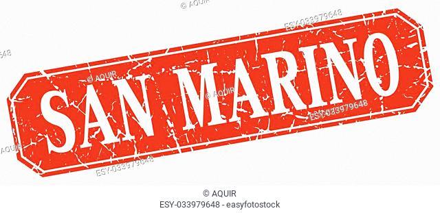 San Marino red square grunge retro style sign