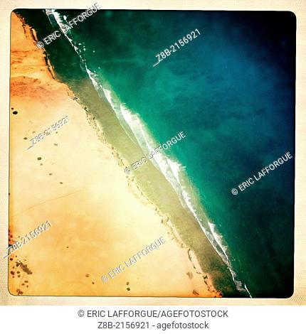 BERBERA, SOMALILAND - DECEMBER 09: the seashore of Somaliland, high angle vue, right over Berbera, a very important trading center in Somaliland