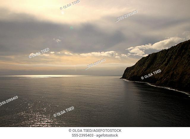 View over the Atlantic Ocean from little village in porto de pescas. Nordeste, Sao Miguel island, Azores, Portugal