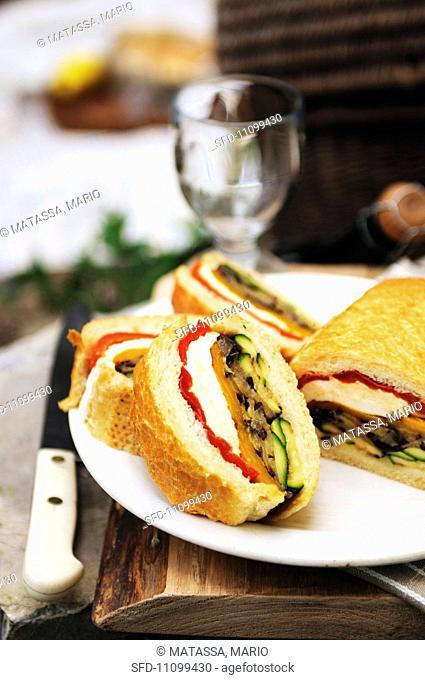 Vegetable and mozzarella ciabatta sandwich for a picnic