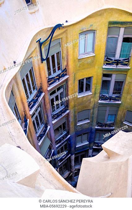 Casa Mila (La Pedrera) by the architect Antoni Gaudi at Paseo de Gracia Avenue in Barcelona, Catalonia, Spain