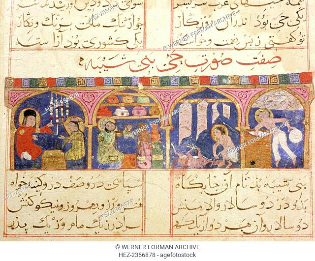 Islamic illustrated manuscript of the Romance of Varqa and Gulshah, c1250. Scene from the only known illustrated manuscript of the poem