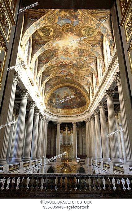 Interior view of the Royal Chapel in the Chateau of Versailles, Paris. France