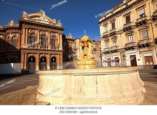 Teatro Bellini with a fountain in the foreground in Piazza Bellini Square, Catania, Sicily, Italy, Europe