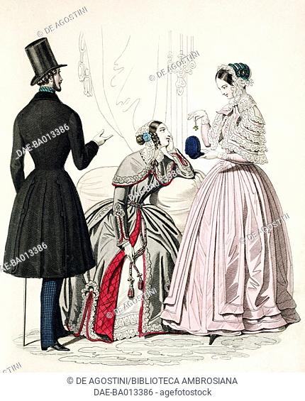 Male sketch in morning suit with stick and female sketches in beige dress and in pink dress with cloak and hat, plate 66 taken from Parisian Fashion