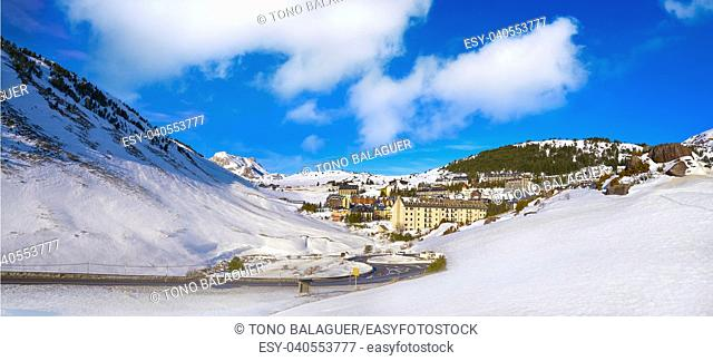 Candanchu skyline in Huesca on Pyrenees at Spain