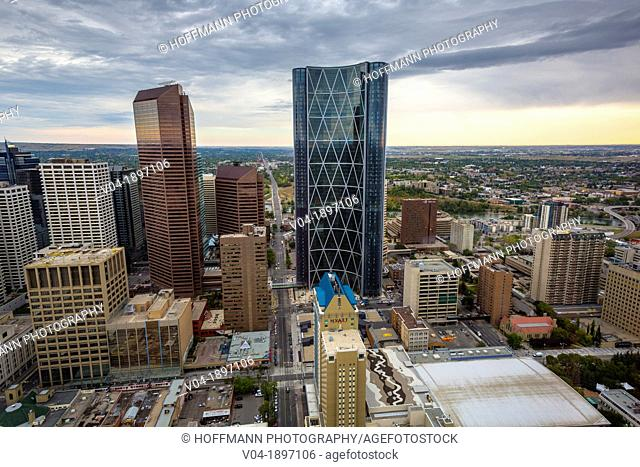 Aerial view of Downtown Calgary with the Bow Tower in Alberta, Canada