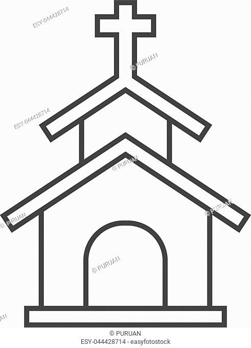 Church icon in thin outline style. Christian chapel synagogue